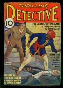 Thrilling Detective April 1936- Tom Curry - Edmond Hamilton- VG+