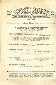 SECRET AGENT X #3-April 1934-DEATH TORCH TERROR-HERO PULP-BARGAIN