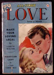 ALL-STORY LOVE 1940 JUN 15 NIGHTCLUB LADY PULP G/VG