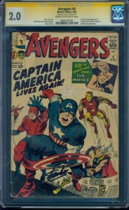 Avengers #4 the 1st Silver Age Captain America CGC 2.0 SS Signed by Stan Lee!
