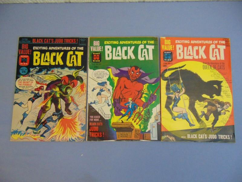 Three 1962 Giant Size Adventures of Black Cat Harvey Comic Books Issues 63 64 65