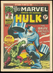 MIGHTY WORLD OF MARVEL #64 1973-HULK-DOOM V F4-BRITISH VG