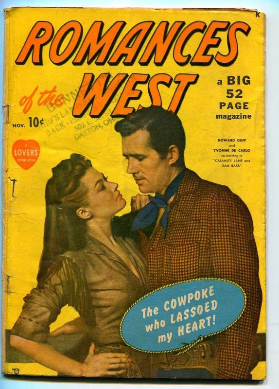 ROMANCES OF THE WEST #1 1949-MARVEL-YVONNE DECARLO-HOWARD DUFF-VG