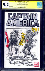 Captain America #1 BLANK CGC SS 9.2 signed Cap vs Hitler Sketch by Allen Bellman