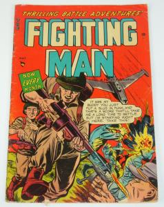 the Fighting Man #7 VG may 1953 - bullet to the face cover - golden age war