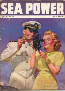 Sea Power 7/1943-McClelland Barclay cover art-war pix &info-rare-VG