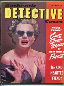 Authentic Detective Cases Magazine November 1952- Walter B Gibson FN-
