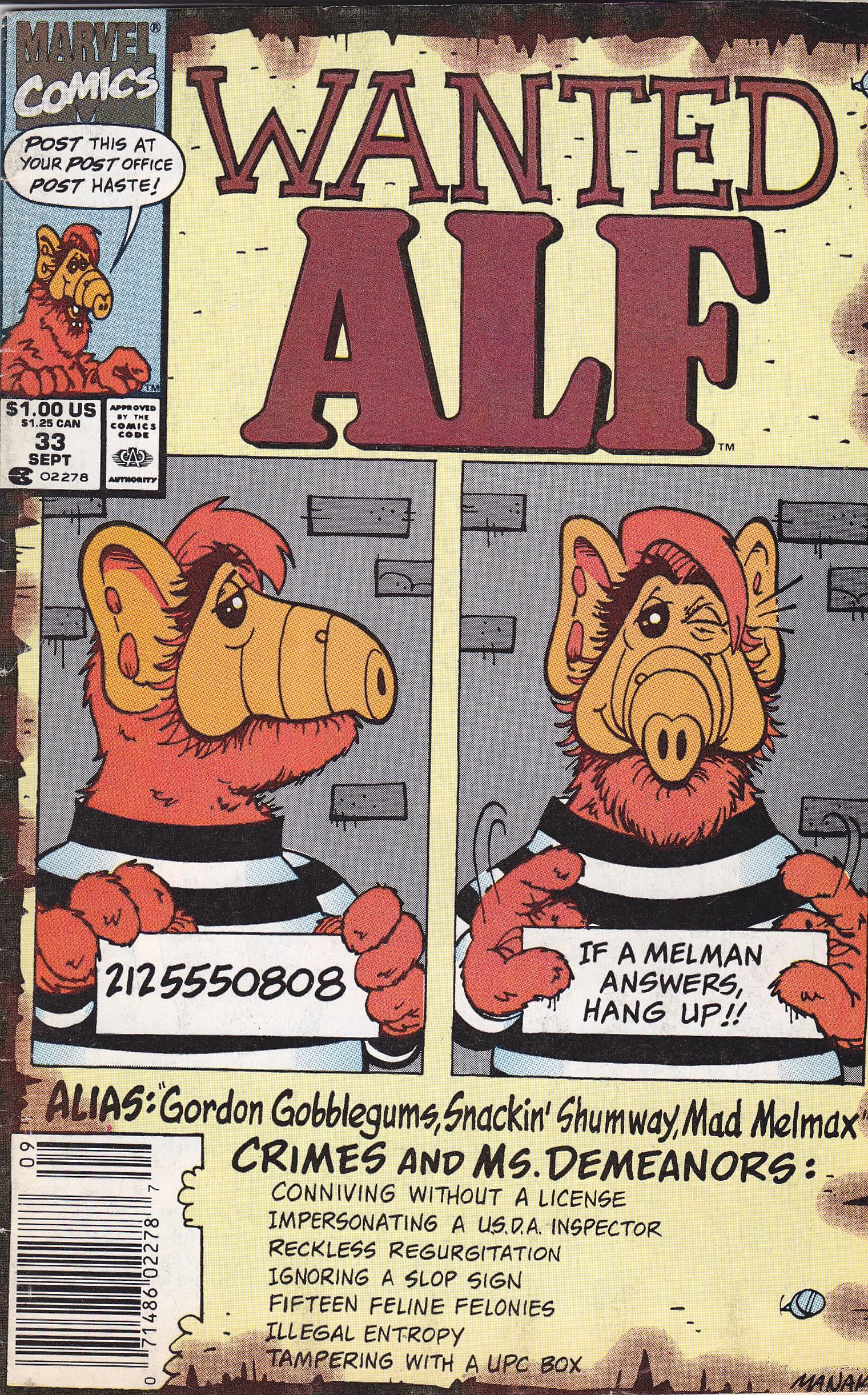 Alf TV Series Comic Book #18 Marvel Comics 1989 FINE+
