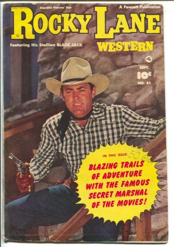 Rocky Lane Western #41-1952-Fawcett- B-Western movie star photo cover-VG+