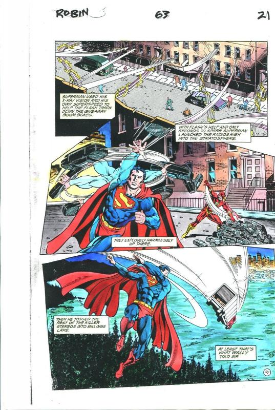 Robin Comics #63 Page 21 Hand Painted Cover Color Guide-Superman-Flash-VG