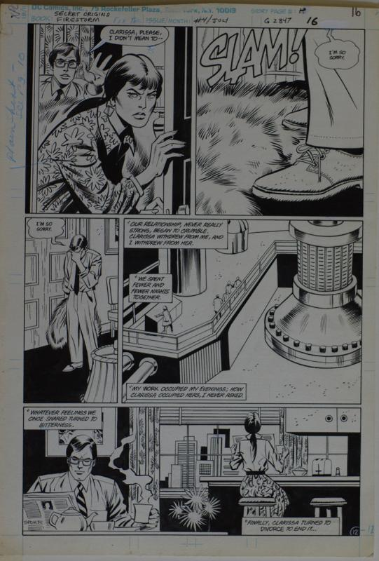 GEORGE TUSKA / PABLO MARCOS original art,SECRET ORIGINS FIRESTORM 4 pg 16,11x16