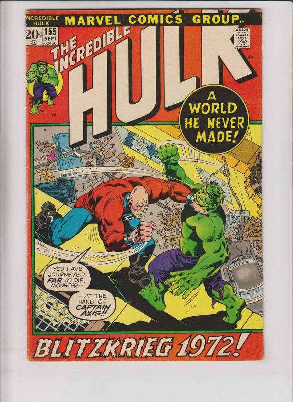 Incredible Hulk #155 VG archie goodwin 1ST SHAPER OF WORLDS vs nazi captain axis