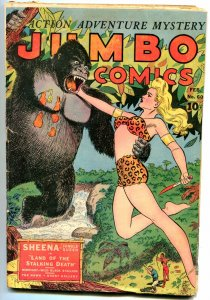 Jumbo #60 1944- Sheena v Gorilla cover- Ghost Galley G