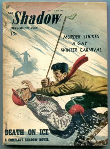 Shadow Pulp December 1946- Death on Ice- Skiing cover VG/F