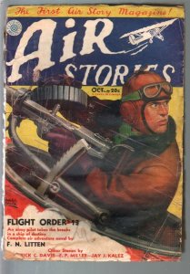 Air Stories 10/1931-earliest aviation pulp title-Belarski machine gun cover-FR/G