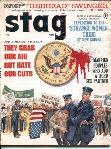 Stag  2/1968 -Mort Kunstler Vietnam war protest cover-Damson Polley-Gil Cohen-G/