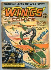 Wings #40 1943- Fiction House- Good Girl art VG-