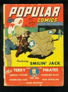 POPULAR COMICS #83 1943-SMILIN JACK-MILTON CANIFF-TERRY & PIRATES-fair/good