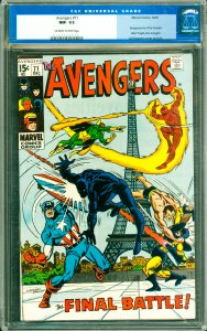Avengers #71 CGC Graded 9.2 Re-appearance of the Invaders. Black Knight joins...
