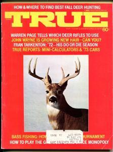 True 10/1972-Fawcett-John Wayne-Fran Tarkenton-NFL-pulp thrills-VG