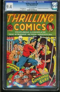 THRILLING COMICS #36 1943-CGC GRADED 9.4-SCHOMBURG -1st COMMANDO CUBS 0916755005