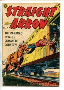 STRAIGHT ARROW  #7-1950-ME-RAILROAD COVER-FRED MEAGHER ART-fr/good