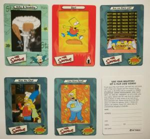 The Simpsons Film Cards 2000 Artbox Trading Cards opened pack of 5