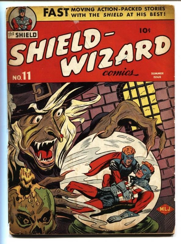 SHIELD-WIZARD #11 1943-MLJ-GOLDEN AGE-Horror themed cover