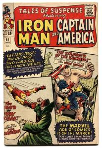 TALES OF SUSPENSE #61 1965-IRON MAN-CAPTAIN AMERICA-NAM FN-