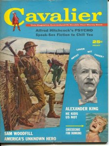 Cavalier 8/1960-Fawcett-WWI battle cover-Hitchcock's Psycho-Bloch-FN