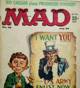 MAD Magazine July 1959 No 48 Sid Caesar US Army Wants You Uncle Sam Comic Strip