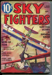 SKY FIGHTERS 9/1935-AIR WAR PULP-WWI-BI-PLANE-THRILLS-MACHINE GUN-fn/vf