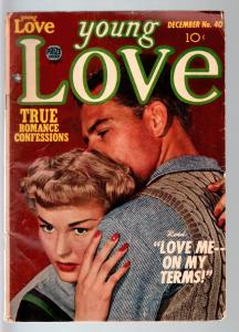 YOUNG LOVE #40-1952-ROMANCE-JACK KIRBY ART-PHOTO COVER-PRIZE- GOOD+ condition G+