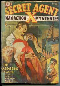Secret Agent X  10/1937-pulp-terror cover-Rafael DeSoto-rare issue-G