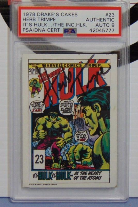 1978 Drakes Cakes Incredible Hulk #23 Autographed Herb Trimpe  PSA Graded Auto 9