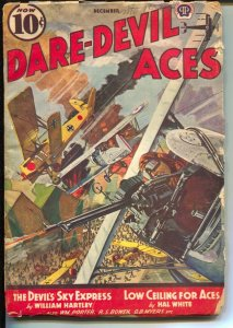 Dare-Devil Aces 12/1939-busy air war cover-violent war pulp- VG-