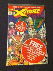 X-Force #1 Marvel Comics NM 1st Collector's Item In Pack. Trader's Card (1991)