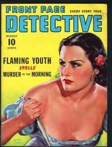 FRONT PAGE DETECTIVE PULP-AUG 1940-MYSTERY-CRIME-GOOD GIRL ART-MURDER- FN/VF