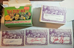 YOU SLAY ME FUNNY MONSTER TRADING CARDS w/ 3 AUTOGRAPHS SET 1992 HORROR HUMOR NM
