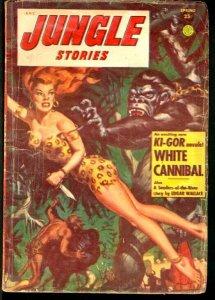 JUNGLE STORIES 1954 SPRING-LAST ISSUE-SHEENA CVR/STORY VG