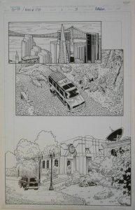 ARTHUR ADAMS / SANDRA HOPE original art,GEN13 MONKEYMAN #1 pg 3, 11x 17,1998, SF