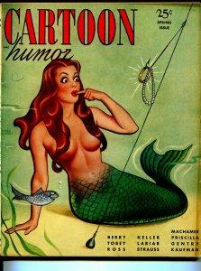 Cartoon Humor-Spring 1949-mermaid cover-Earle Bergey-Machamer-cartoons-Tobey-FN