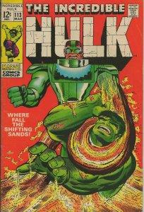 Incredible Hulk #113 ORIGINAL Vintage 1969 Marvel Comics Sandman