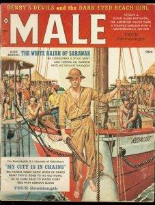 MALE MAGAZINE FEB 1960-KUNSTLER-CHEESECAKE-POLLEN-WW II VG