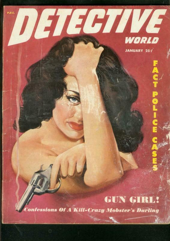 DETECTIVE WORLD PULP-JAN 1952-SPICY GOOD GIRL ART COVER G