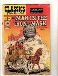 Classics Illustrated #54 HRN 55 VG/FN Gilberton Comic Book Man In Iron Mask JL26