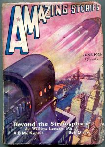 Amazing Stories Pulp June 1936-Beyond the Stratosphere G+