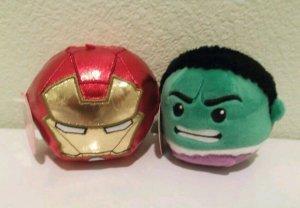 Set of 2 Hallmark Iron Man and Hulk Fluffballs NWT Free Shipping