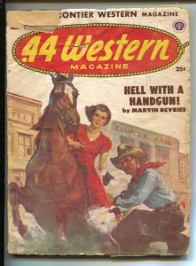 .44 Western 5/1952-Popular-Female gunfighter cover-Western pulp fiction-FR/G