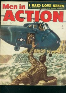 MEN IN ACTION MAG  #1-MARCH 1955-HELICOPTER COVER-WW II VG